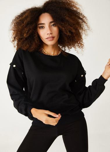 XHAN Siyah Çıtçıt Detaylı Sweatshirt 1Kxk8-44428-02 Siyah